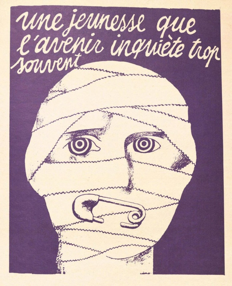 A youth disturbed too often by the future 1968 by anonymous – Atelier Populaire