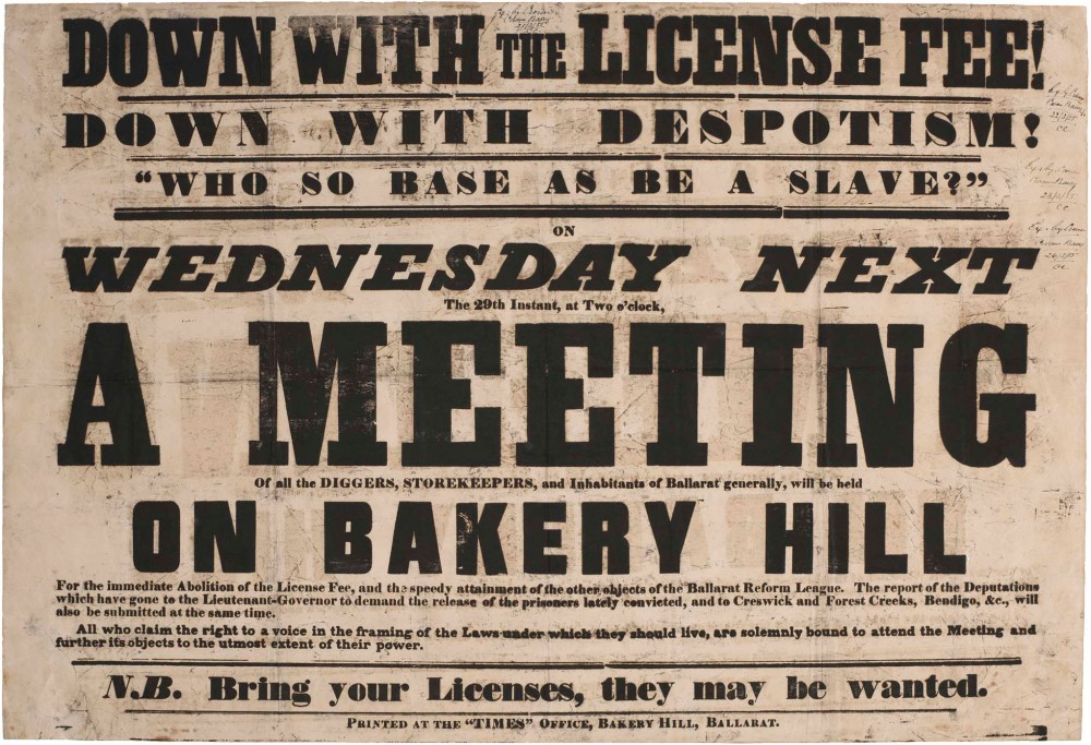Poster produced by Seekamp's press promoting meeting at Bakery Hill, 1854